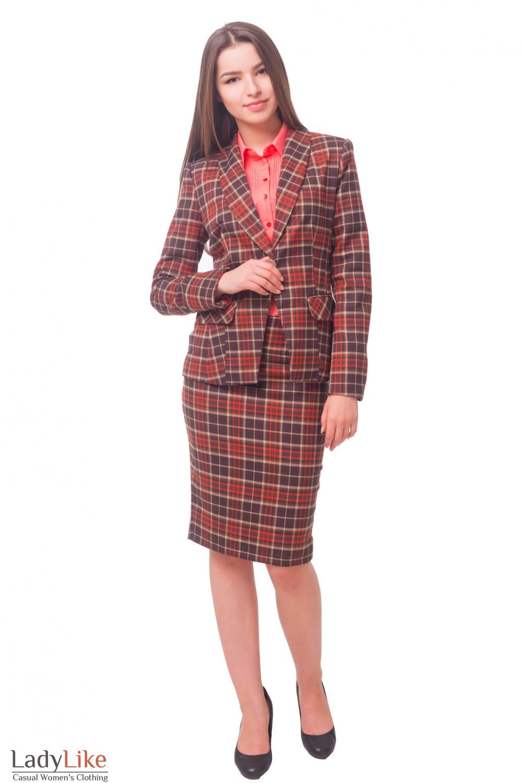 Купить жакет в красную клетку на одной пуговице Деловая женская одежда