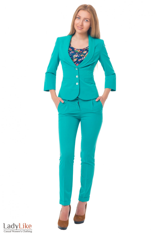 Купить жакет зеленый с отрезной талией Деловая женская одежда