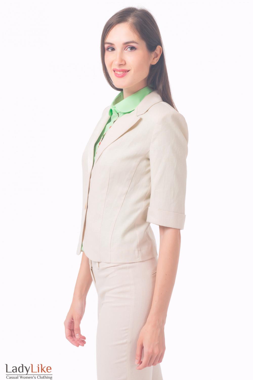 Купить жакет женский из бежевого льна Деловая женская одежда