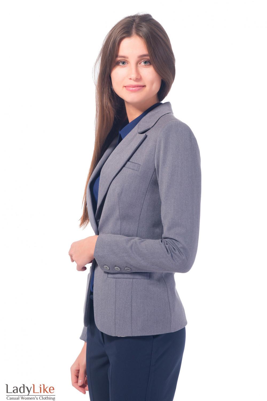 Купить женский серый жакет с одной пуговицей Деловая женская одежда