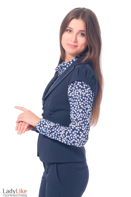 Купить жилетку женскую синюю с защипами впереди Деловая женская одежда