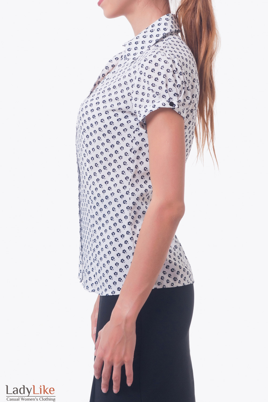 Купить белую блузку в цветок Деловая женская одежда