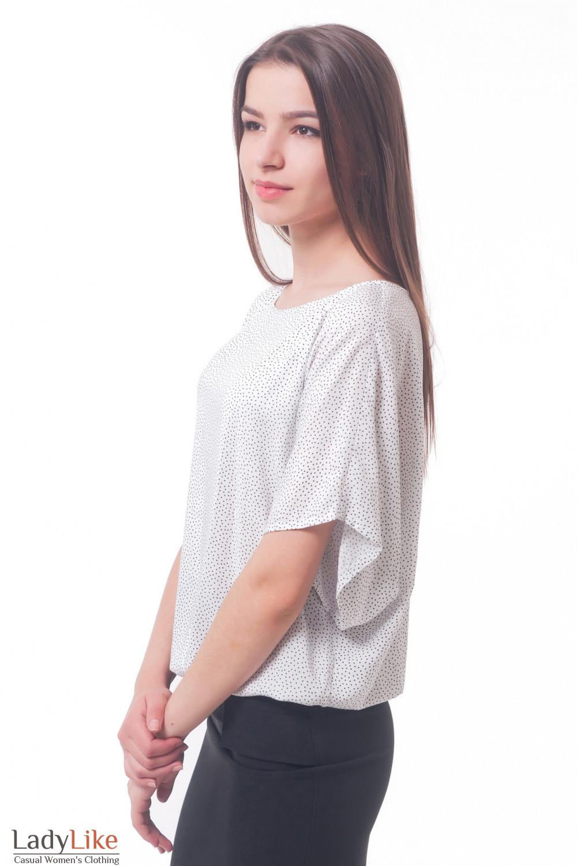 Купить блузку белую в черный горошек из штапеля Деловая женская одежда