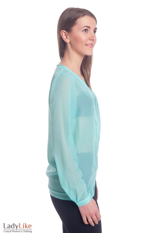 Купить блузку бирюзовую в горошек с планкой Деловая женская одежда