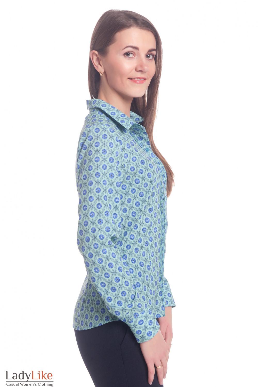 Купить блузку бирюзовую в синие цветы Деловая женская одежда