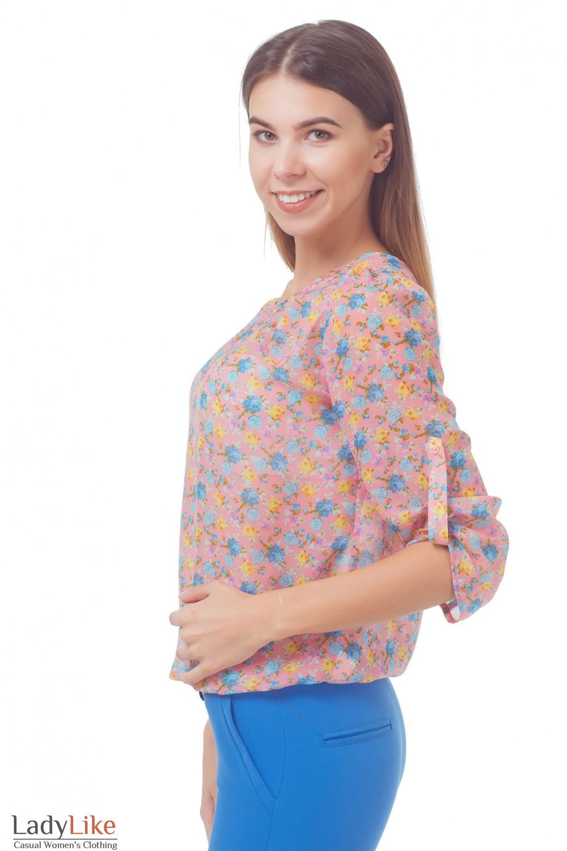 Купить блузку из розового шифона в голубой цветок Деловая женская одежда