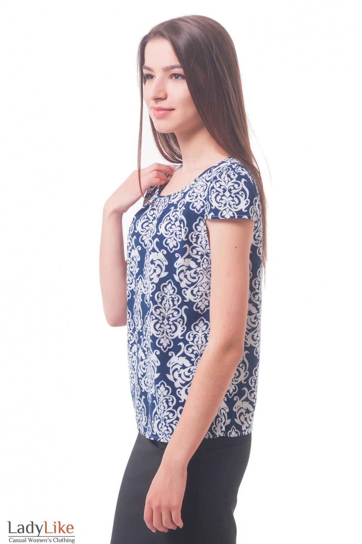Купить блузку из синего штапеля в белый узор Деловая женская одежда