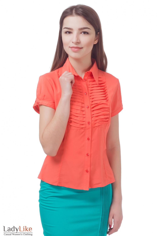 Блузка коралловая с горизонтальными складочками Деловая женская одежда