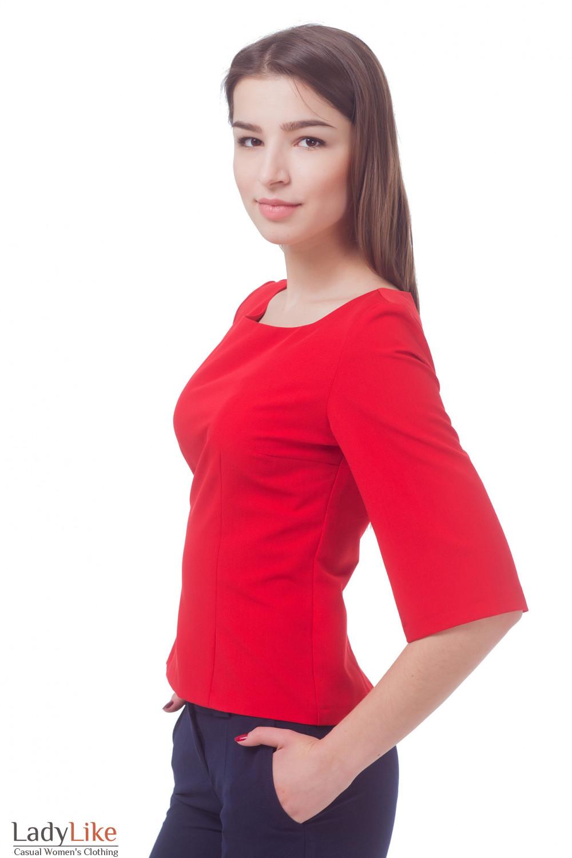Купить блузку красную с рукавом в три четверти Деловая женская одежда