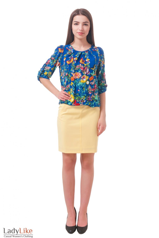 Фото Блузка с ярким принтом Деловая женская одежда
