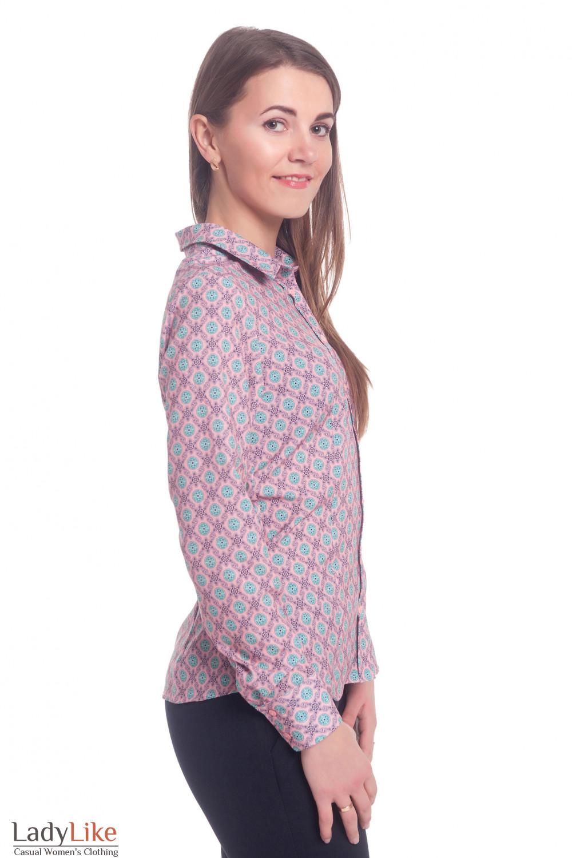 Купить розовую блузку в бирюзовые ромашки. Деловая женская одежда