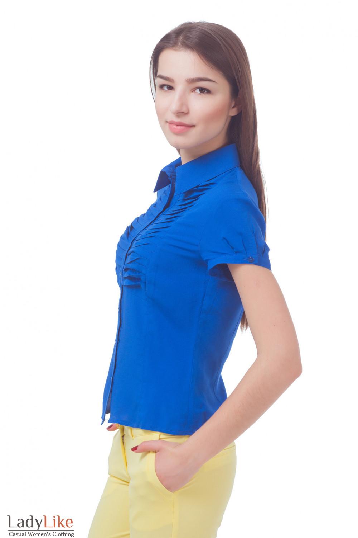 Купить блузку синюю со складочками Деловая женская одежда