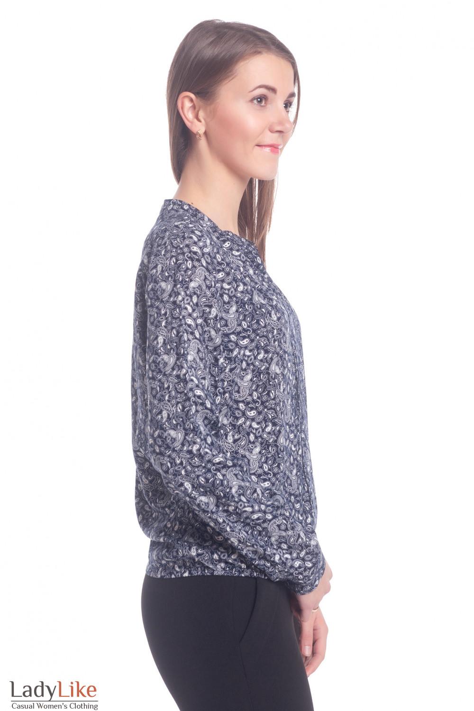 Купить блузку синюю в белые огурцы Деловая женская одежда