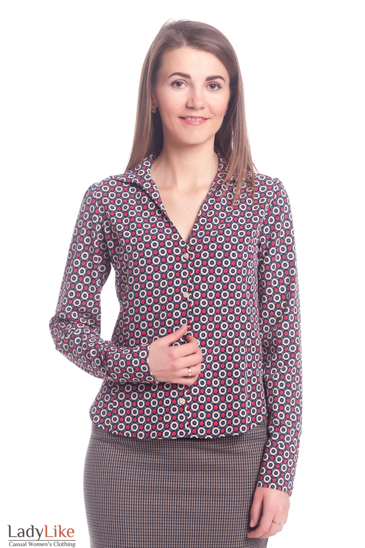 Блузка синяя в бежевый кружочек Деловая женская одежда