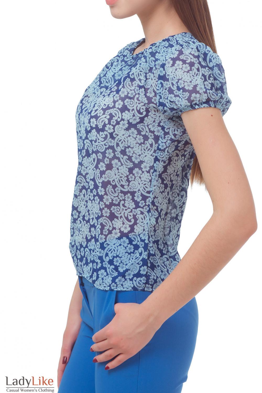 Купить блузку синюю в голубой узор Деловая женская одежда
