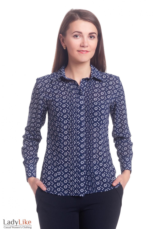 Блузка темно-синяя в ромашки с защипами Деловая женская одежда
