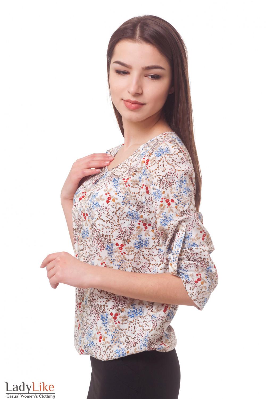Купить блузку в красные маки на резинке Деловая женская одежда