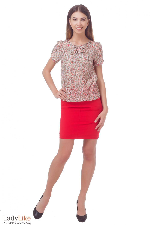 Купить шифоновую блузку в красный цветочек с бантиком Деловая женская одежда