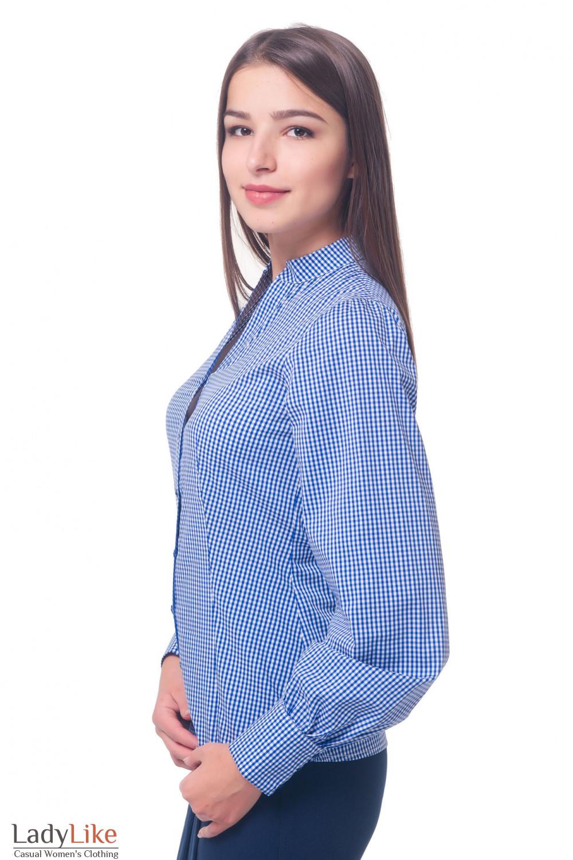 Купить блузку в синюю клетку со стойкой Деловая женская одежда