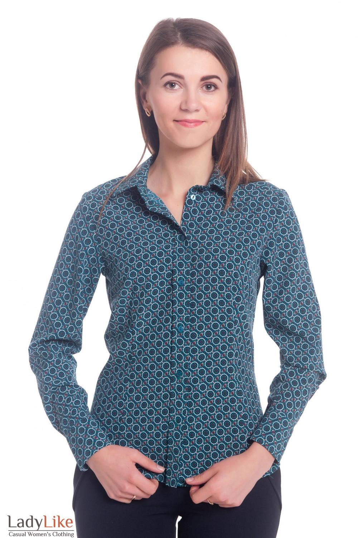 Блузка зеленая в кружочки Деловая женская одежда