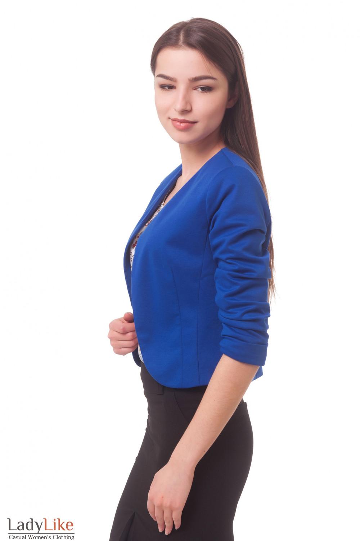 Купить яркое синее болеро Деловая женская одежда