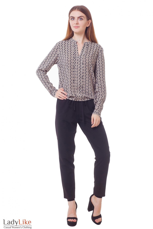 Купить укороченные брюки черные на резинке Деловая женская одежда