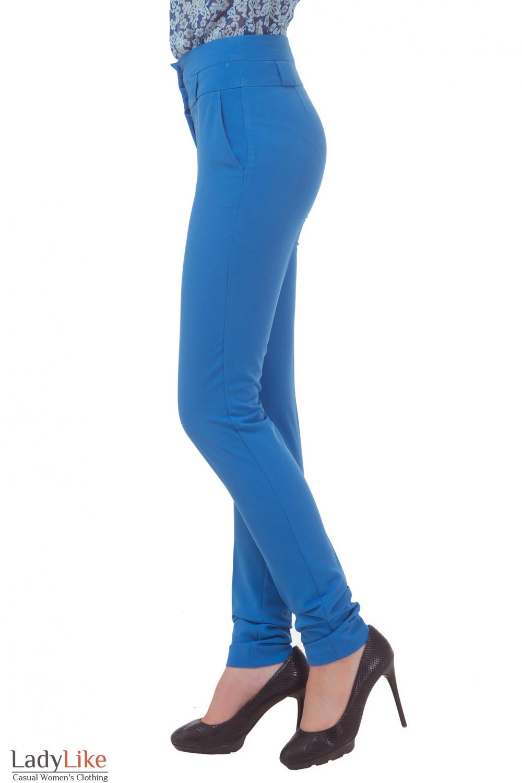 Купить брюки голубые с завышенной талией Деловая женская одежда