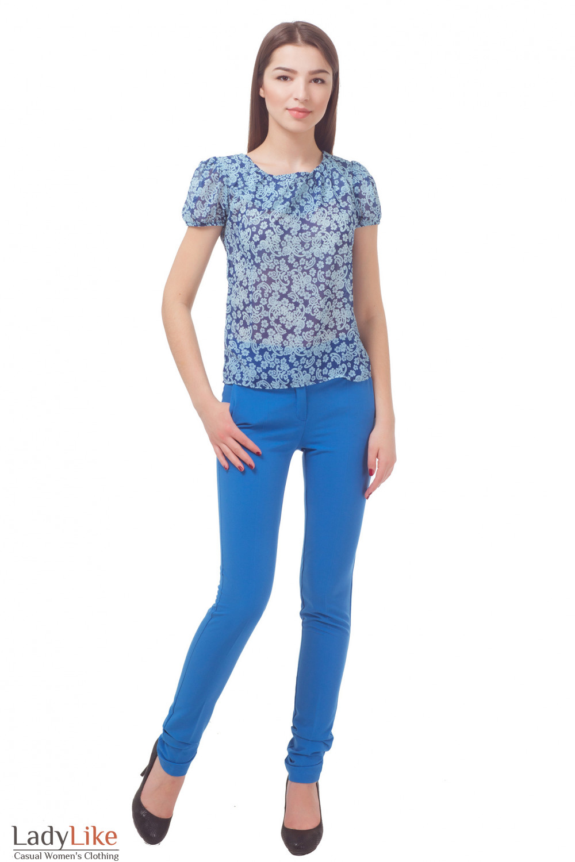 Купить брюки голубые Деловая женская одежда