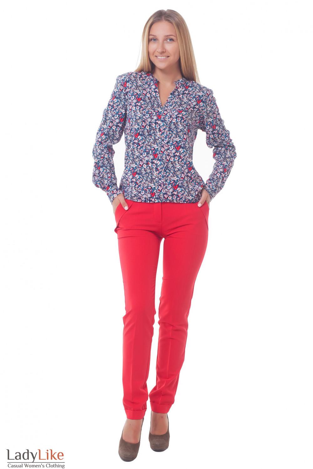 Купить брюки красные с двойным поясом Деловая женская одежда