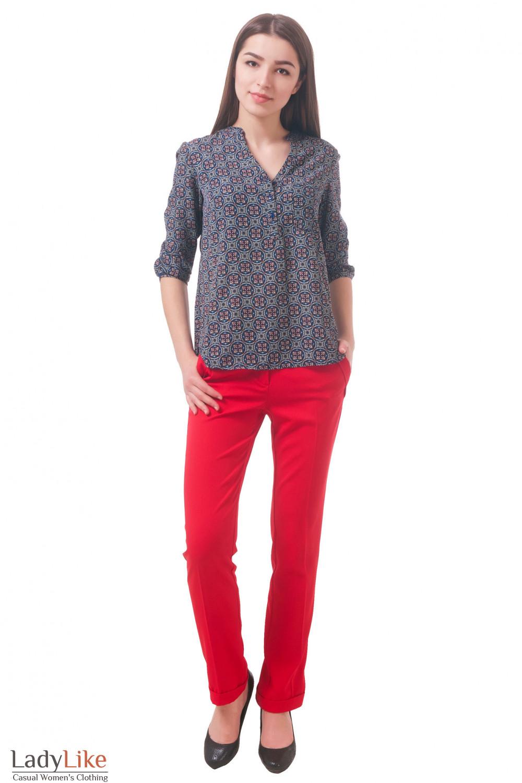 Фото Брюки зауженные красные Деловая женская одежда