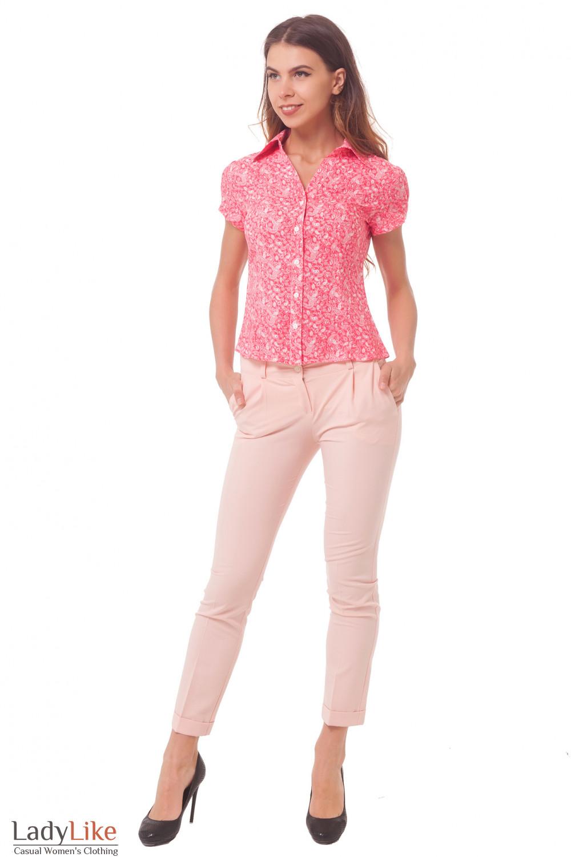Купить брюки укороченные розовые с манжетой Деловая женская одежда