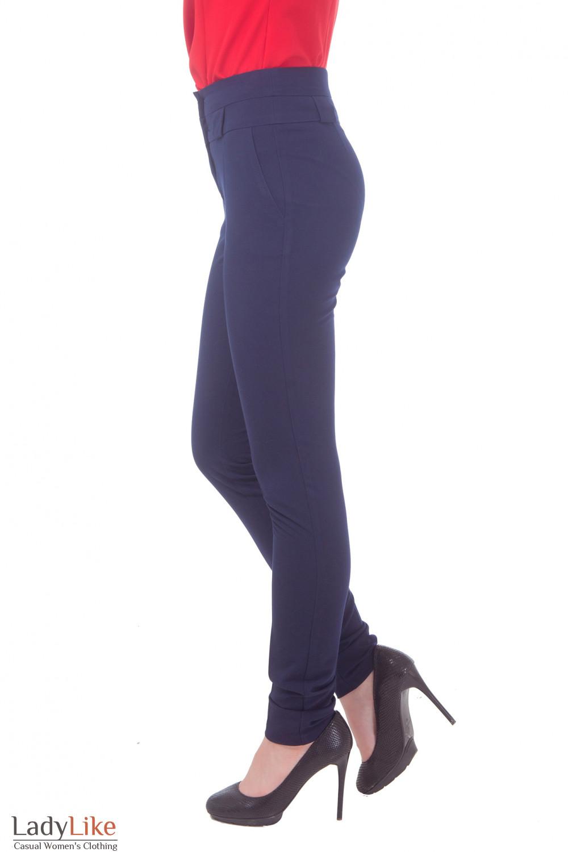 Купить брюки синие с завышенной талией Деловая женская одежда