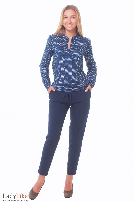 Купить брюки синие женские на резинке Деловая женская одежда
