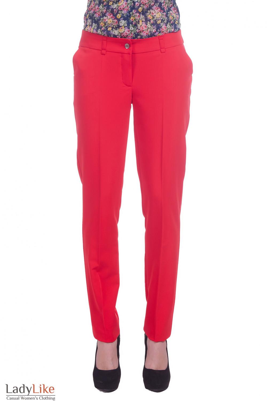 Фото Брюки зауженные длинные красные Деловая женская одежда