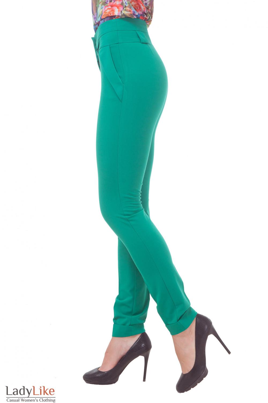 Купить брюки зеленые с завышенной талией Деловая женская одежда