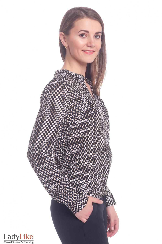 Купить черную блузку в мелкий коричневый ромб Деловая женская одежда