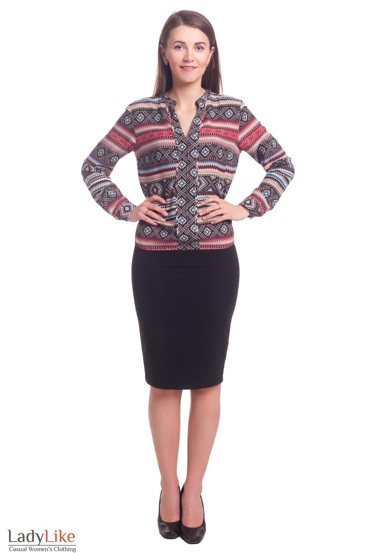 Купить черную юбку-карандаш с косой шлицей Деловая женская одежда