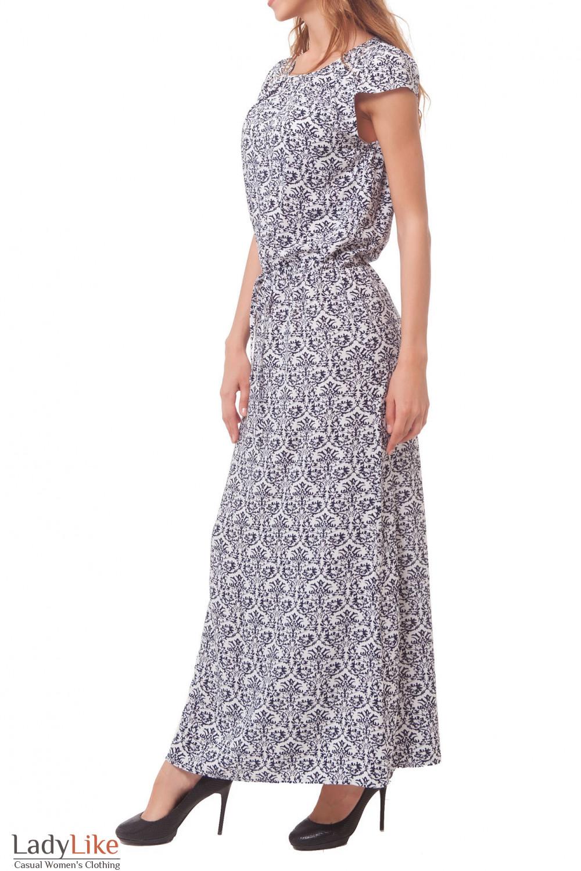 Купить длинное белое платье в синий узор Деловая женская одежда