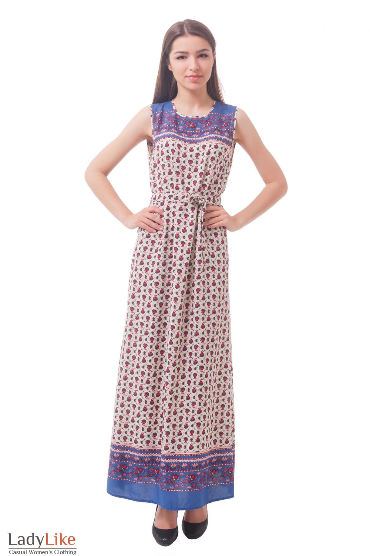 Длинное платье в бордовый цветок Деловая женская одежда