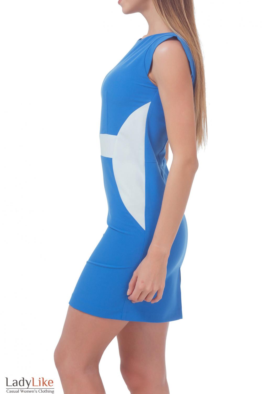 Купить голубое платье с белой вставкой Деловая женская одежда
