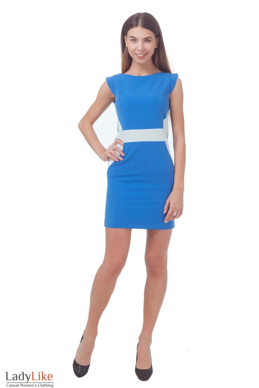 Купить голубое платье с вставкой Деловая женская одежда