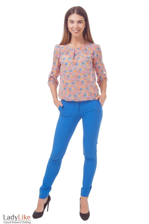 Купить голубые женские брюки Деловая женская одежда
