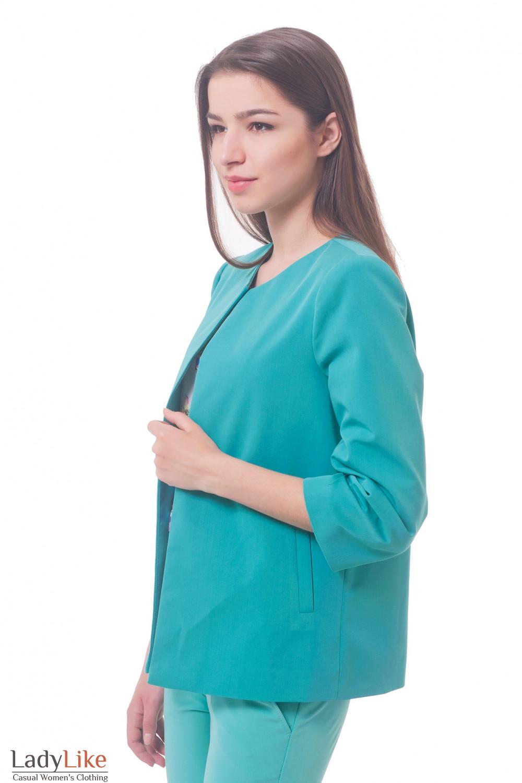 Купить кардиган бирюзовый короткий с карманами Деловая женская одежда