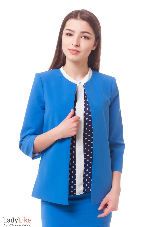 Кардиган голубой с карманами Деловая женская одежда