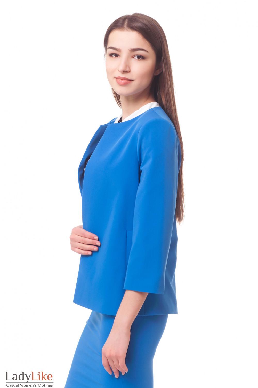 Купить кардиган голубой с карманами Деловая женская одежда