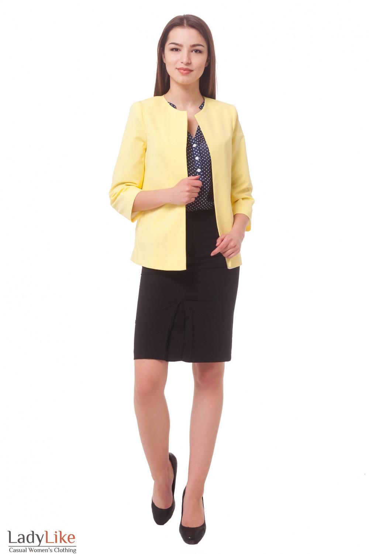 Купить кардиган короткий желтый с карманами Деловая женская одежда