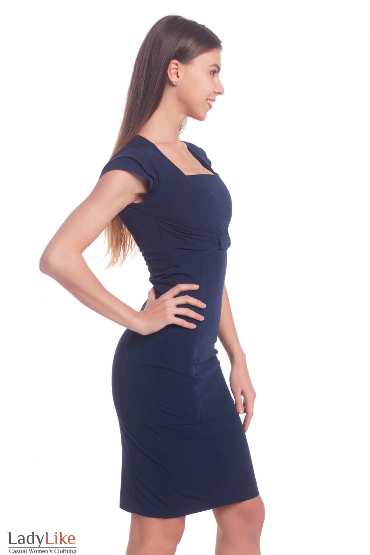 Купить нарядный синий сарафан с бантиком Деловая женская одежда