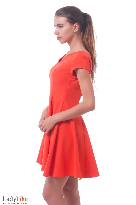 Купить оранжевое платье с пышной юбкой Деловая женская одежда