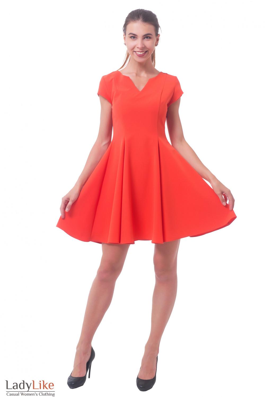 Оранжевое платье Деловая женская одежда