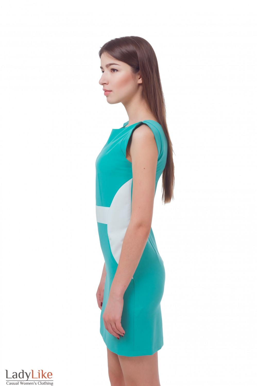 Купить бирюзовое платье с белым поясом Деловая женская одежда